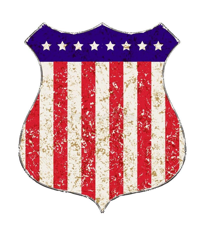 A estrada do grunge do vintage assina dentro cores da bandeira americana com estreptococo vermelho ilustração royalty free
