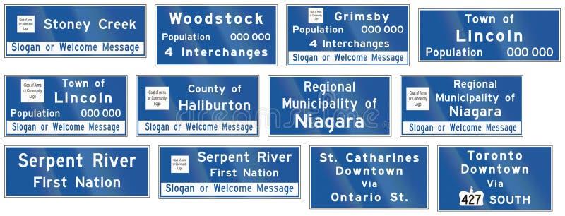 A estrada do guia assina dentro Ontário - Canadá ilustração stock