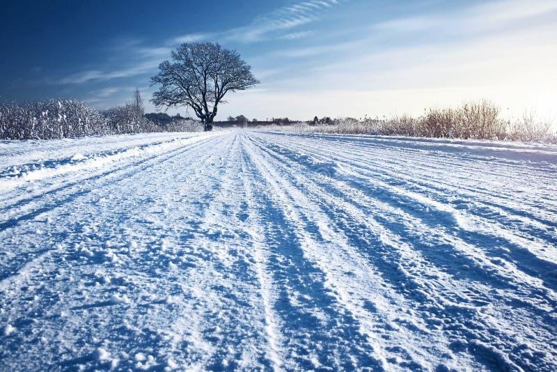 Estrada do inverno no nascer do sol imagens de stock royalty free