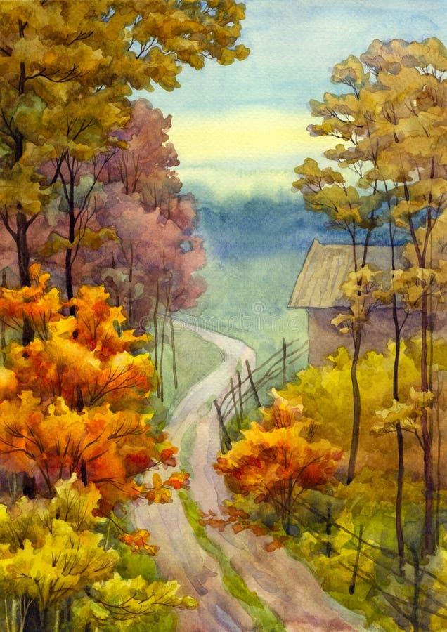 Estrada do outono ilustração royalty free