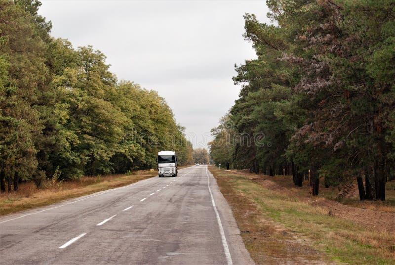 Estrada do outono reservando mover cargas por caminhões imagem de stock