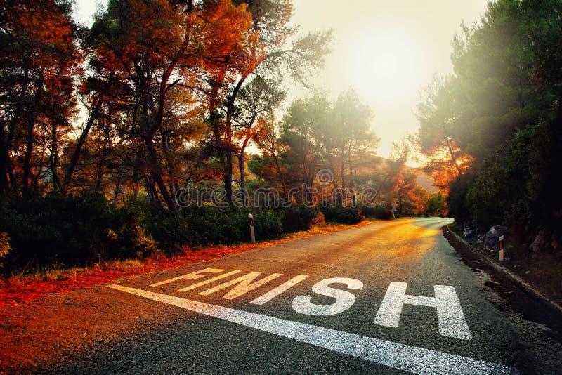 Estrada do por do sol com texto do revestimento foto de stock royalty free