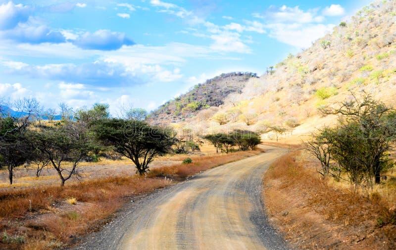 Estrada do safari em Kenya imagens de stock