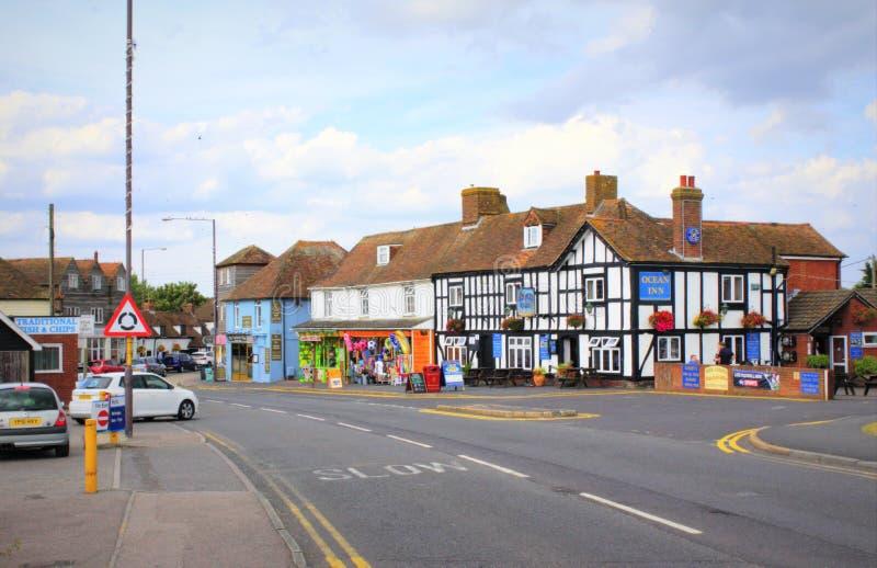 A259 estrada Dymchurch Kent United Kingdom imagem de stock