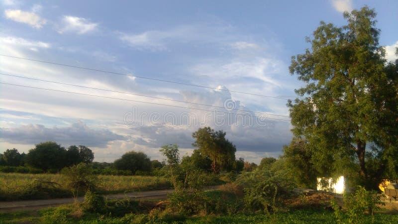 Estrada e agricultura da vila das Índias fotos de stock royalty free
