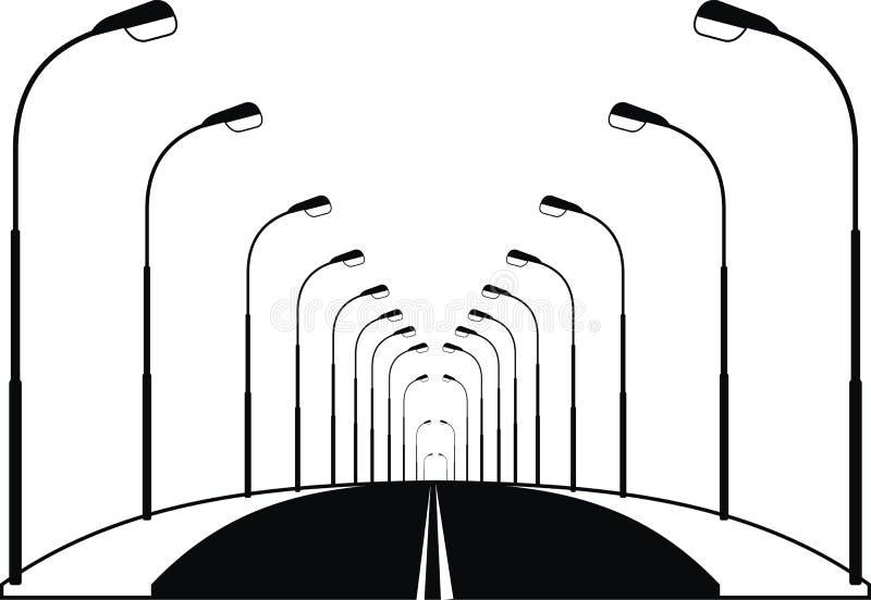 Estrada e lanternas da rua da noite ilustração do vetor