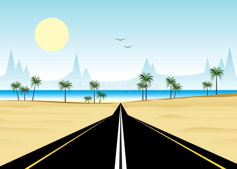 Estrada e praia ilustração stock