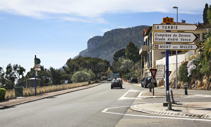 Estrada em Cantão de Beausoleil france imagens de stock royalty free