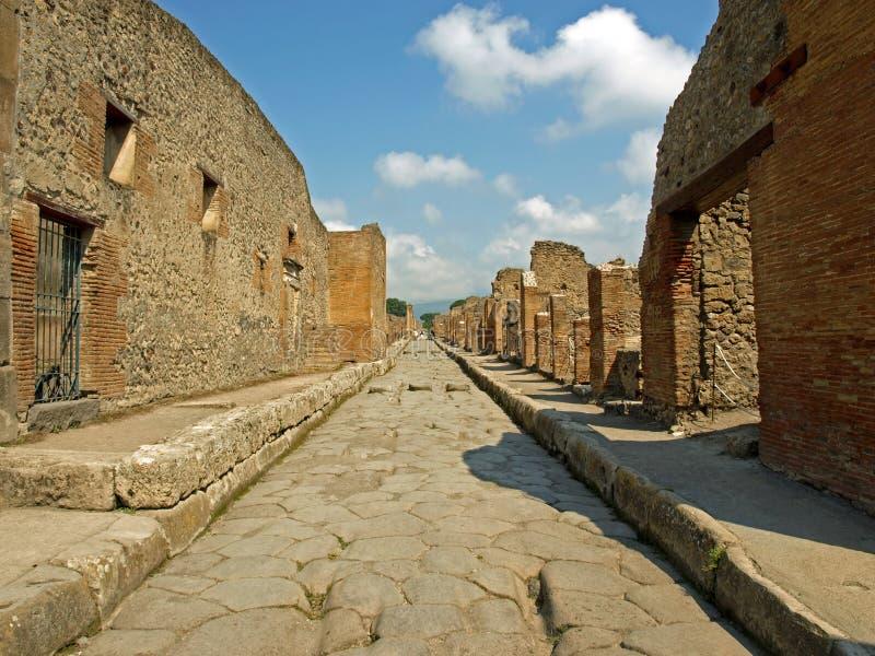 Estrada em Pompeii fotografia de stock