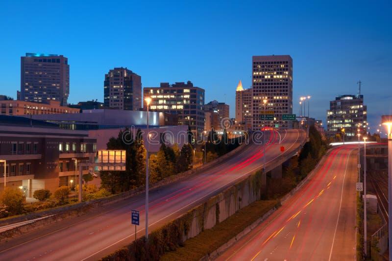 Estrada em Tacoma do centro Washington City Skyline fotografia de stock