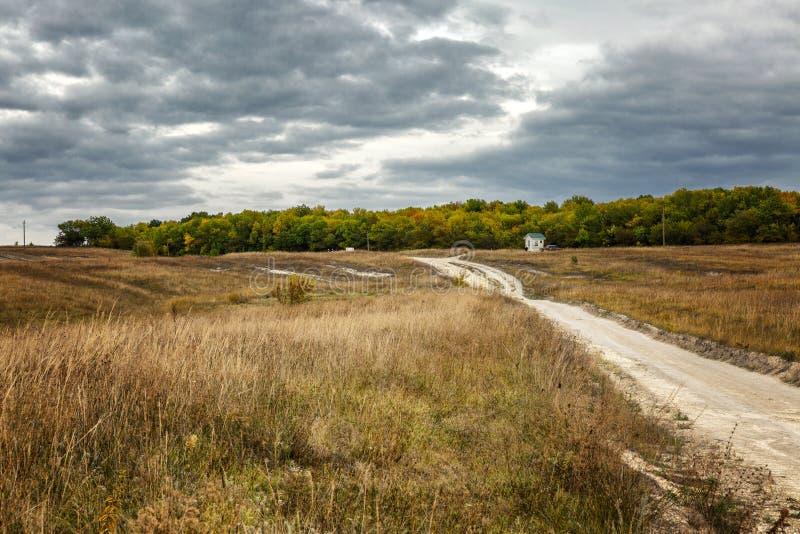 Estrada em um campo dourado do outono em um dia ensolarado Paisagem bonita fotografia de stock