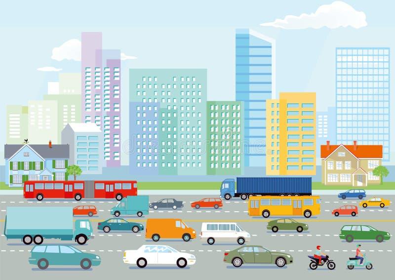 Estrada em uma cidade ocupada grande ilustração royalty free