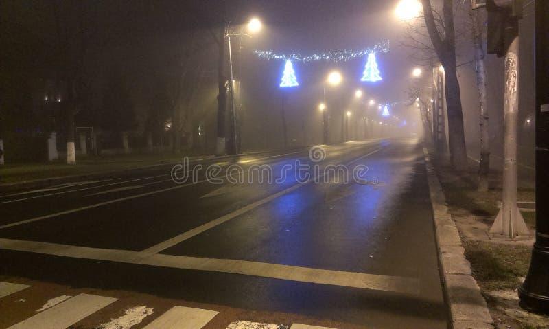 Estrada enevoada no inverno foto de stock