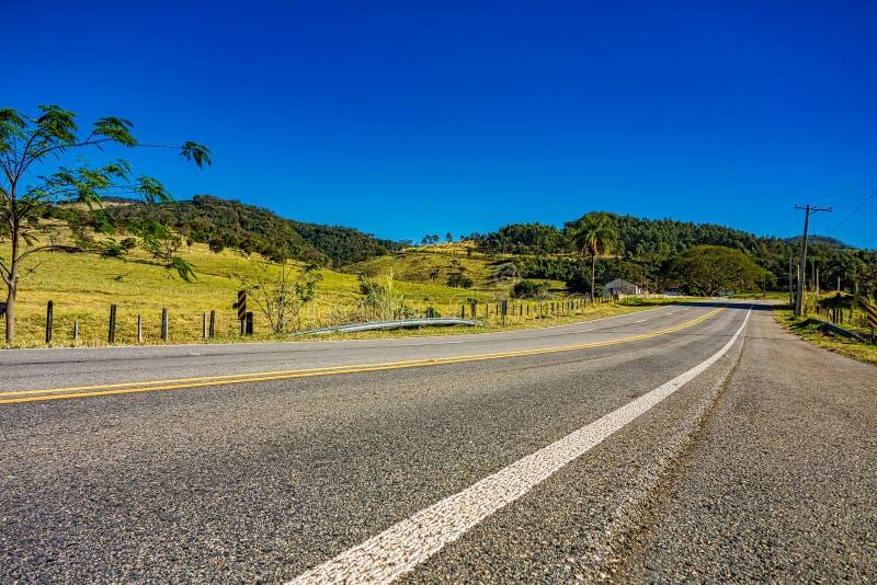 Estrada entre montes em Minas Gerais, Brasil, com céu azul e pasto com rebanhos animais ao lado foto de stock