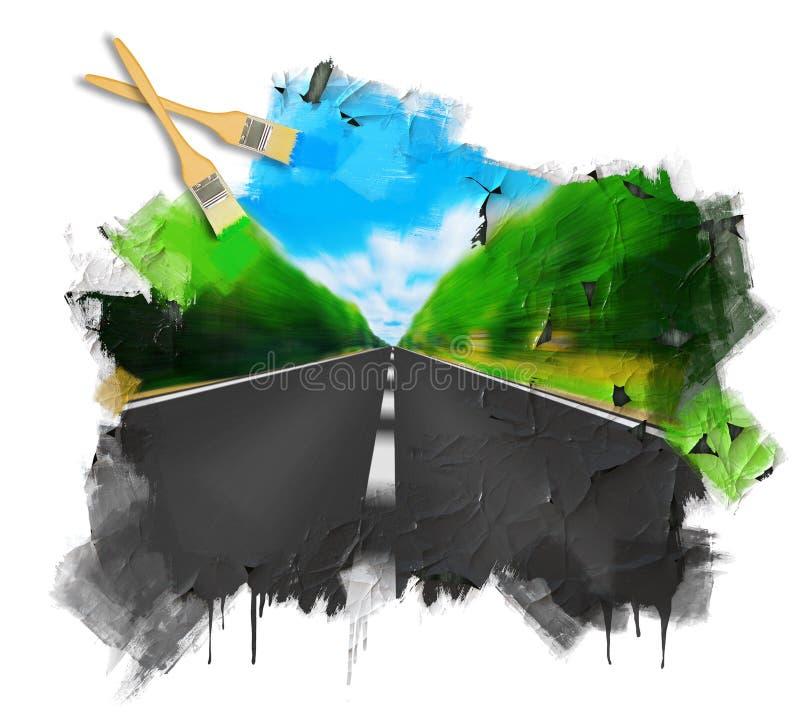 Estrada expressa que desaparece sobre o horizonte ilustração stock