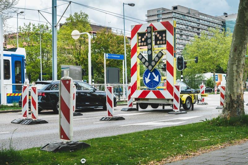 A estrada fechou o sinal, para uma interse??o Amsterd?o Buitenveldert imagem de stock royalty free