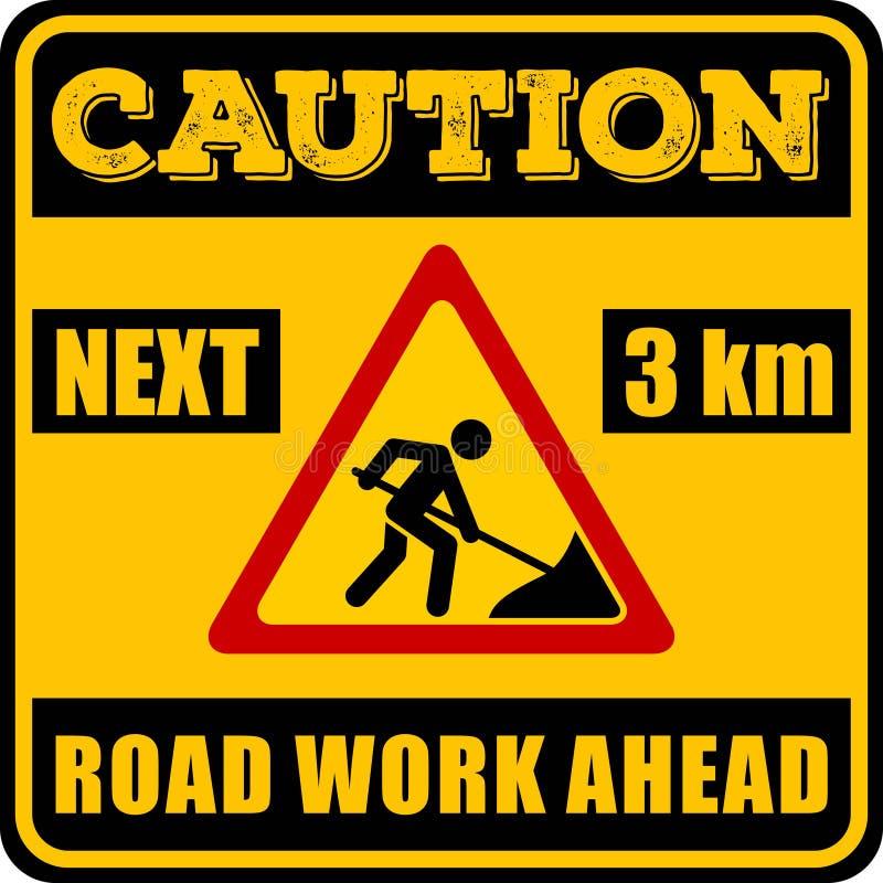 A estrada funciona adiante o sinal isolado no fundo branco Ilustração do vetor ilustração stock