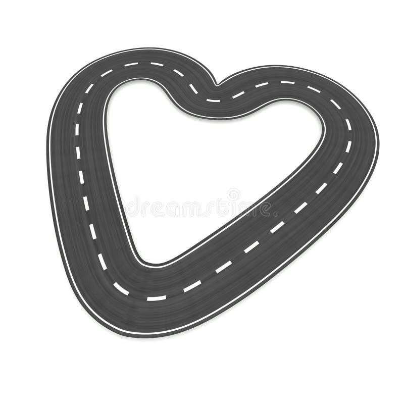 Estrada infinita na forma do coração ilustração royalty free