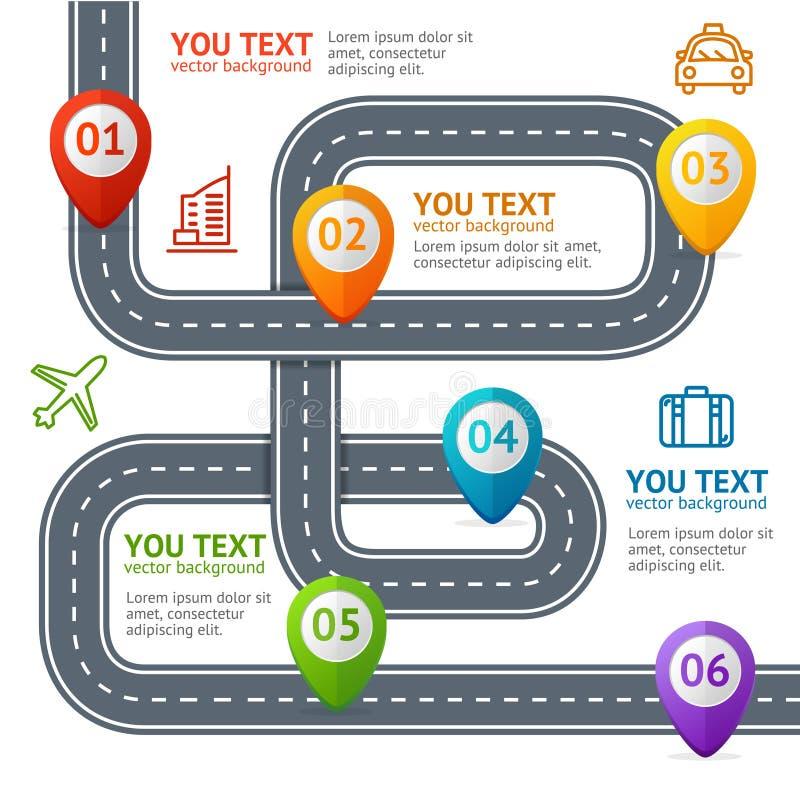 Estrada Infographic com lugar Mark Elements Vetor ilustração do vetor