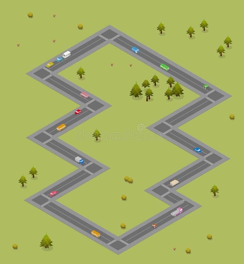 Estrada isométrica com carros e ônibus Fundo do tráfego ilustração royalty free