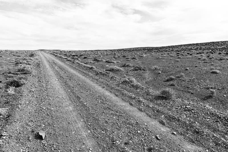 Estrada mal ondulada do cascalho no Karoo de Tankwa monocromático imagens de stock royalty free