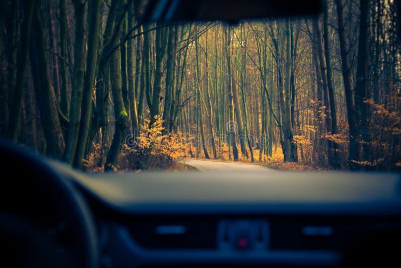 Estrada movente interna do carro da vista foto de stock