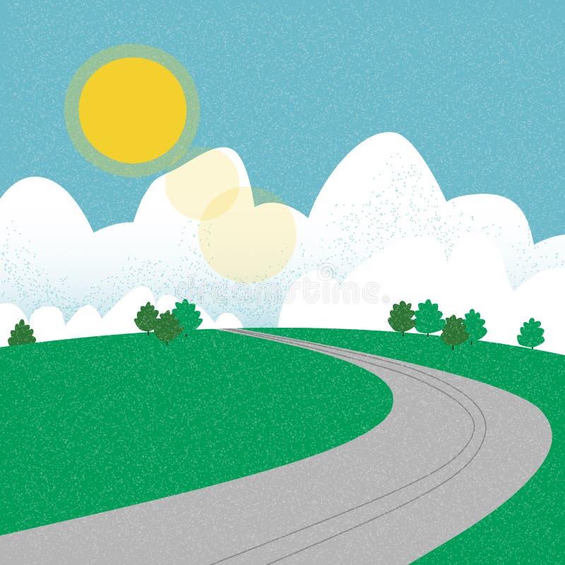 Estrada na montanha durante o verão ilustração royalty free
