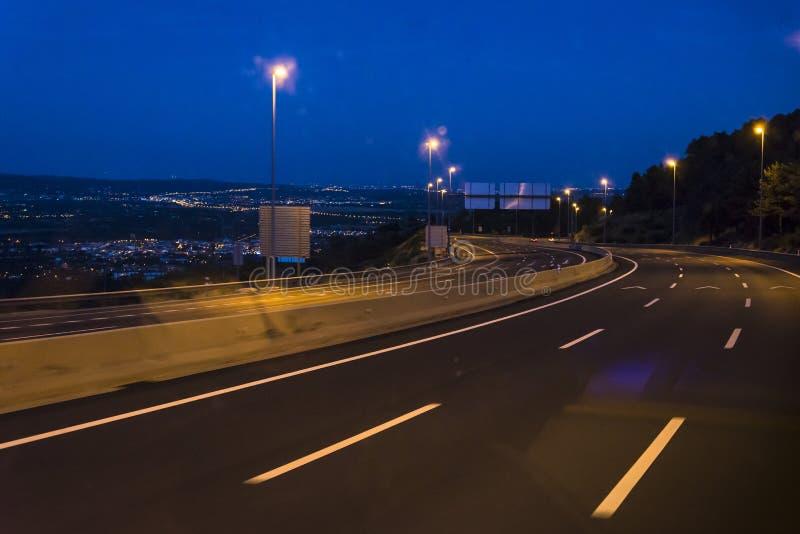 Estrada na noite, Espanha fotografia de stock royalty free