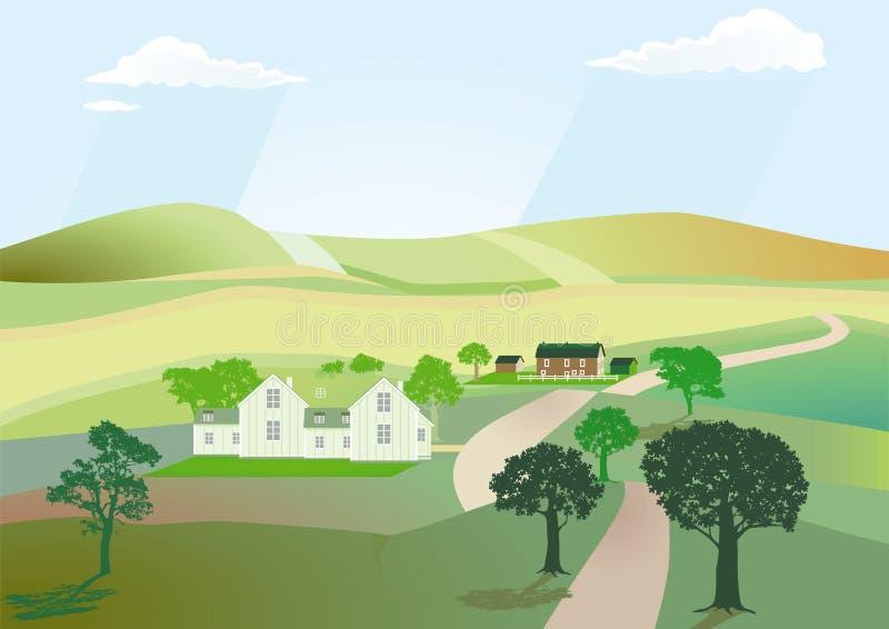 Estrada na paisagem do campo ilustração royalty free