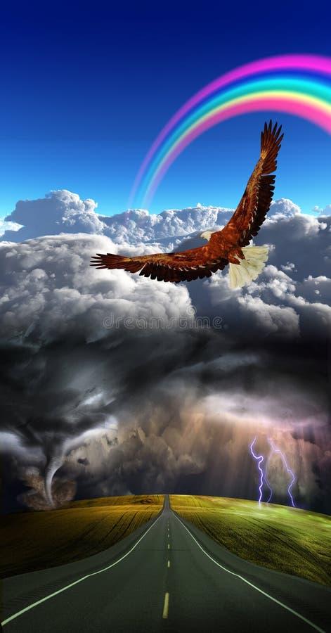 Estrada na tempestade ilustração stock
