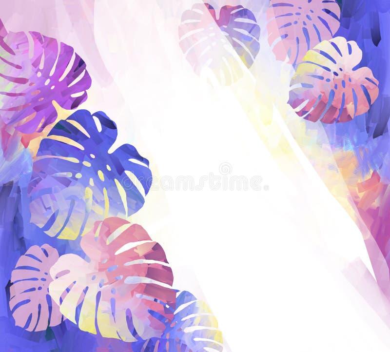 Estrada nas folhas tropicais de Monstera da selva ilustração do vetor