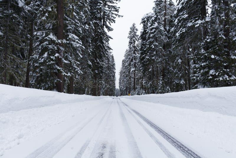Estrada nevado com circunstâncias geladas fotos de stock royalty free