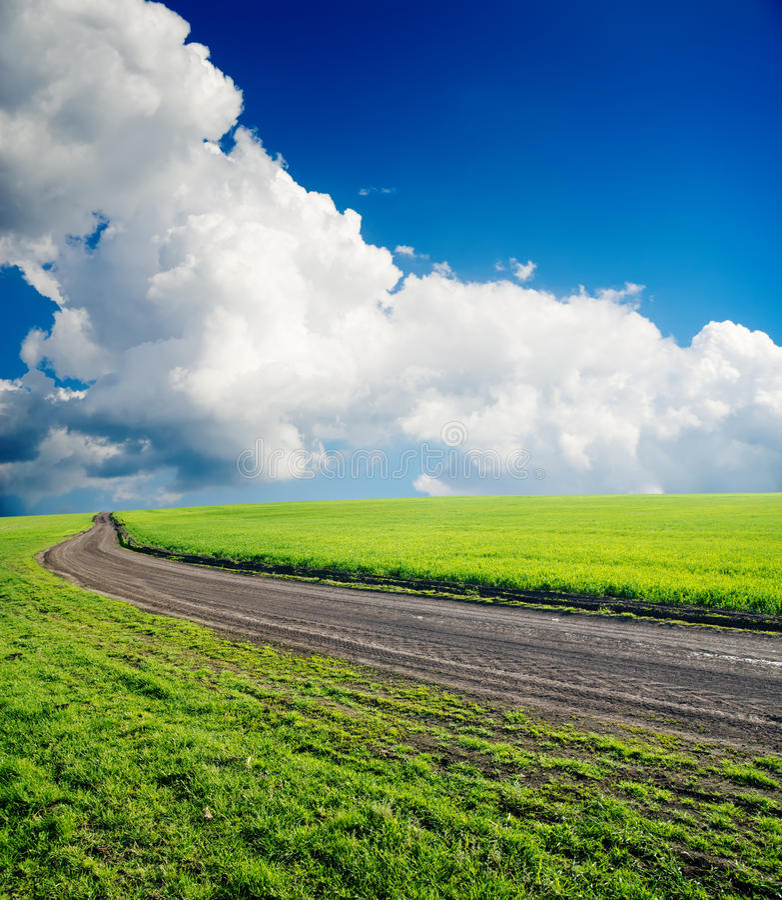 Estrada no campo verde imagem de stock royalty free
