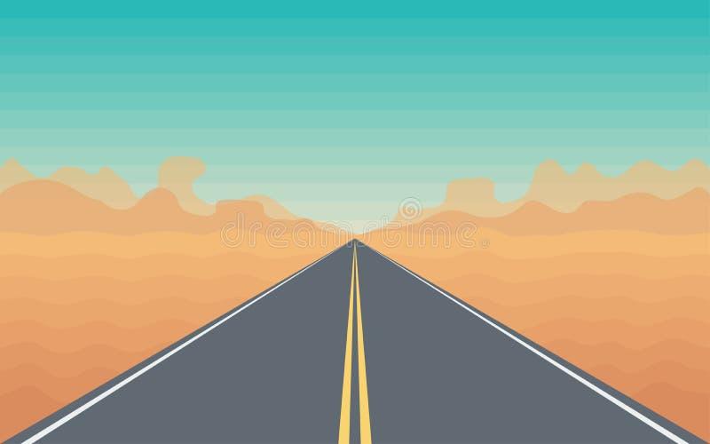 Estrada no deserto ilustração royalty free
