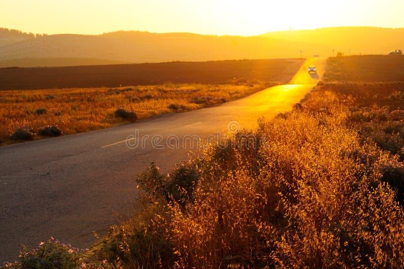 Estrada no por do sol foto de stock