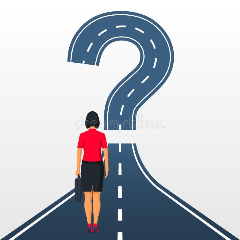 Estrada para a frente no formulário de um ponto de interrogação ilustração do vetor