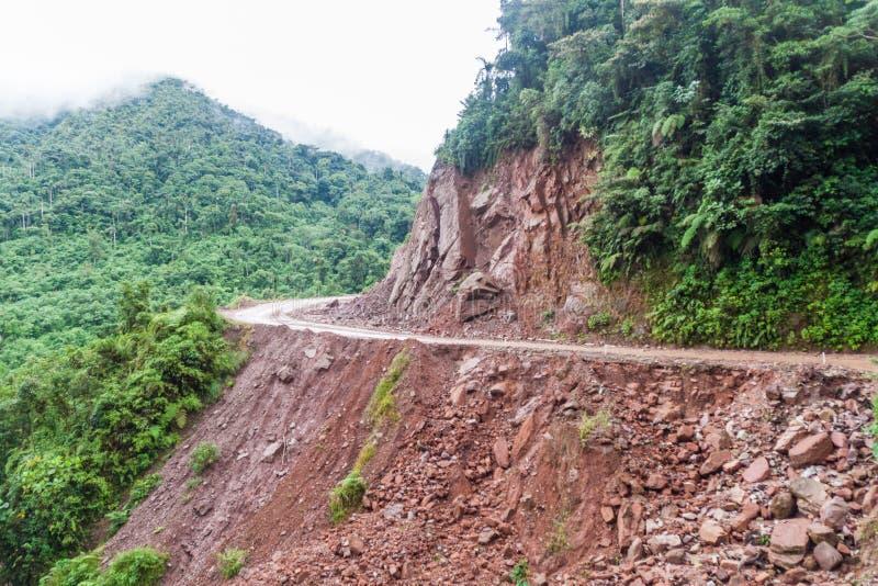 Estrada perigosa estreita em montanhas de Yungas, Boliv imagem de stock