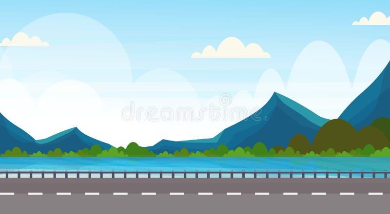 Estrada perto do fundo natural da paisagem das madeiras da floresta da montanha do rio do plano horizontal da bandeira ilustração royalty free