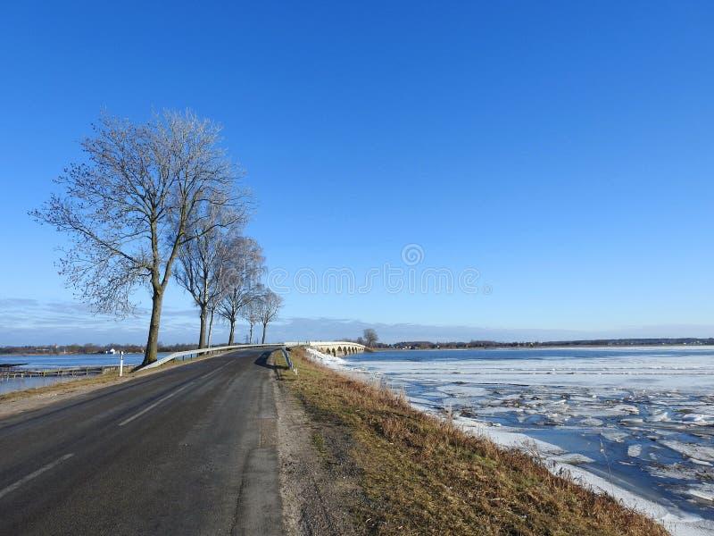 Estrada, ponte, árvores e campo de inundação, Lituânia imagem de stock
