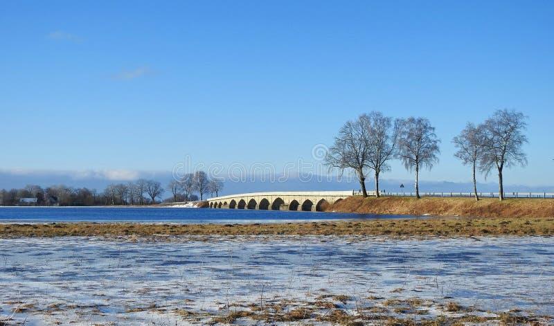 Estrada, ponte, árvores e campo de inundação, Lituânia imagens de stock