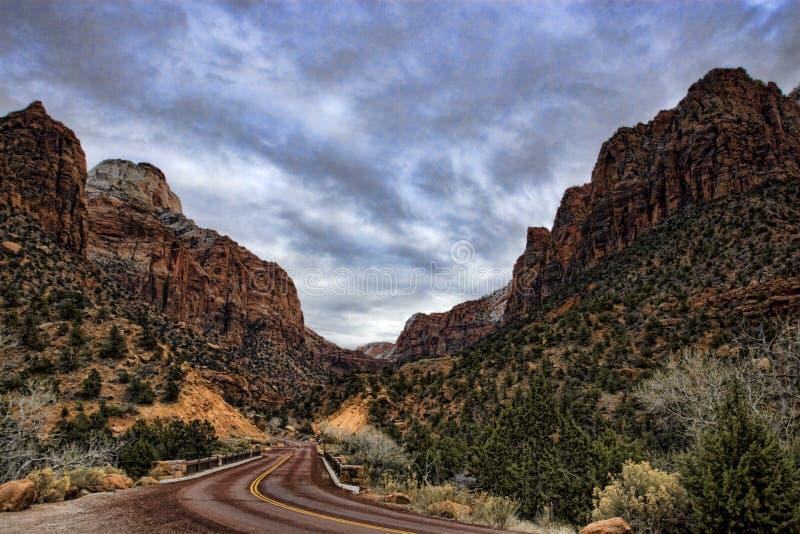 Estrada que conduz a Zion imagens de stock