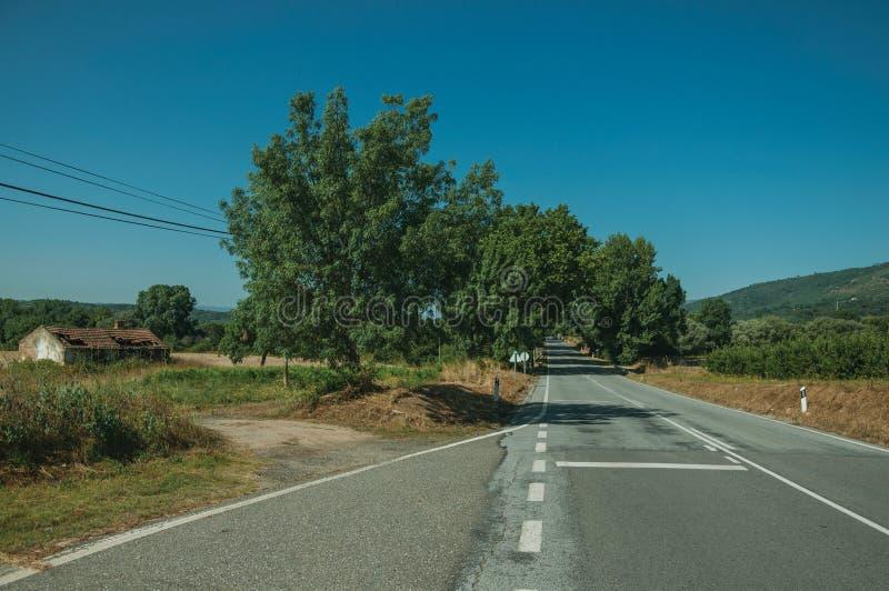 Estrada que passa com a paisagem rural fotografia de stock