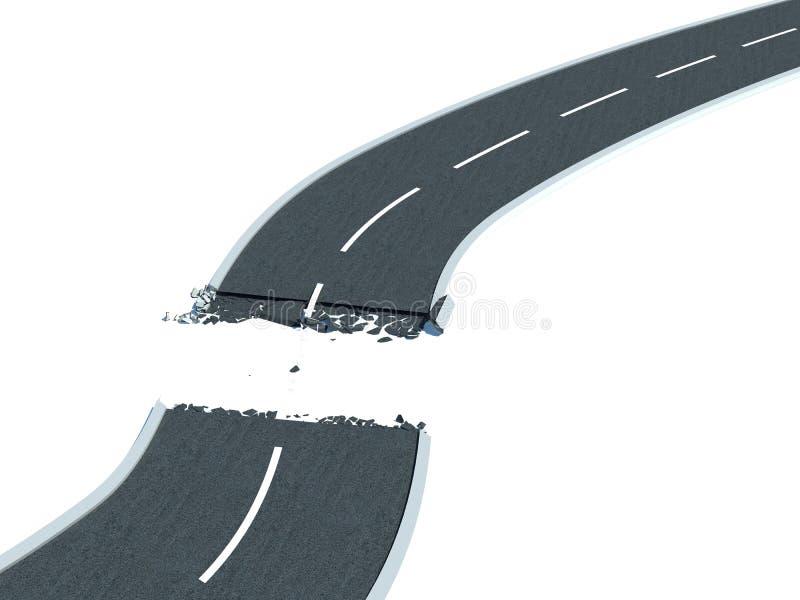 Estrada quebrada ilustração do vetor