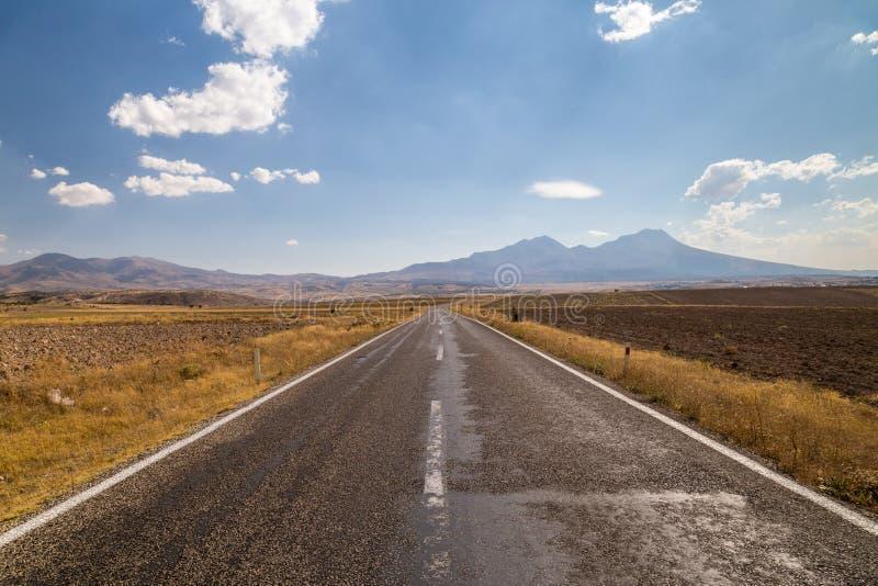 Estrada reta que vai através do campo, conduzindo às montanhas longe fotografia de stock