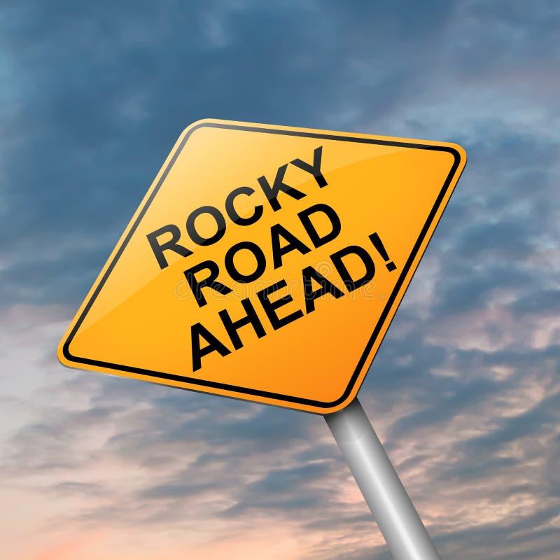 Estrada rochosa adiante. ilustração do vetor