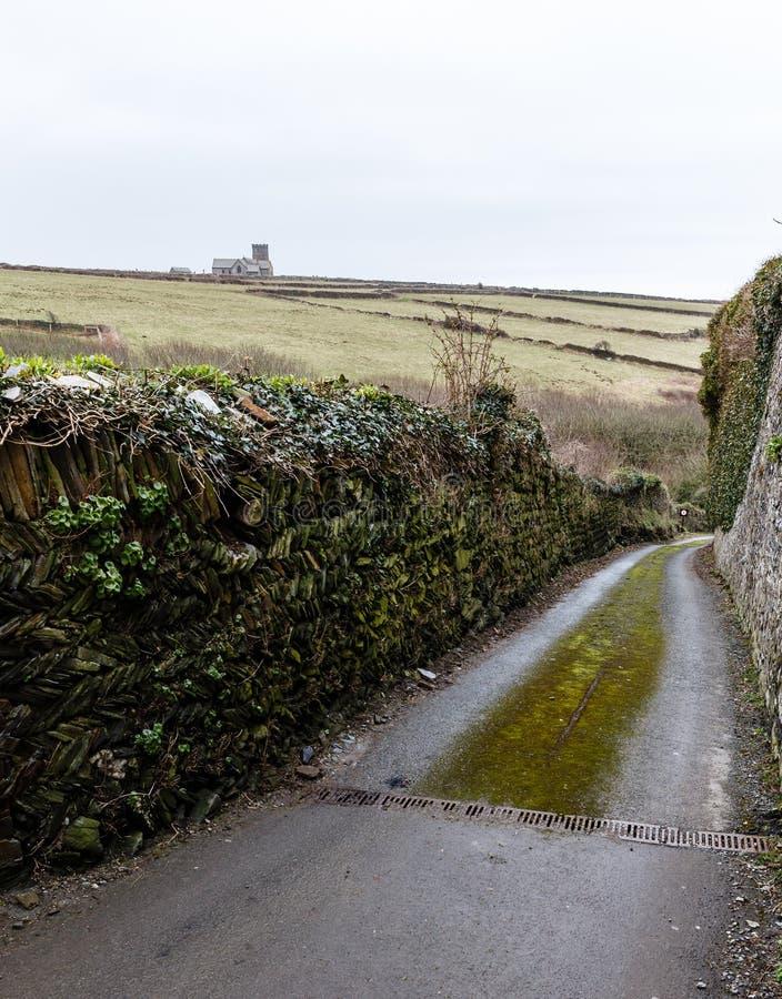 Estrada rural ao longo das paredes altas imagem de stock
