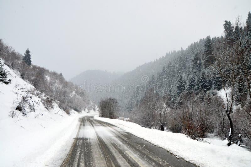 Estrada rural do inverno fotografia de stock royalty free