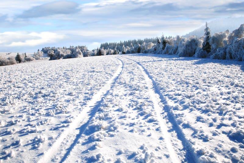 Estrada rural na neve. fotografia de stock royalty free