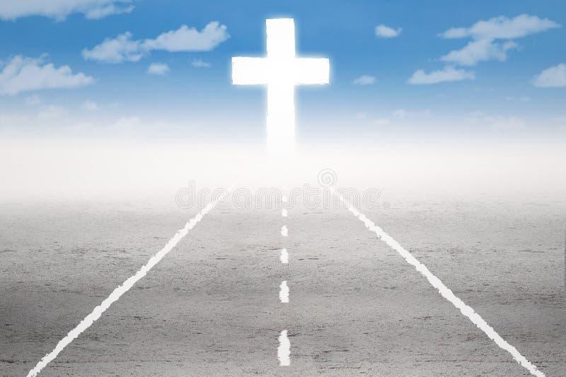Estrada santamente à cruz ilustração do vetor