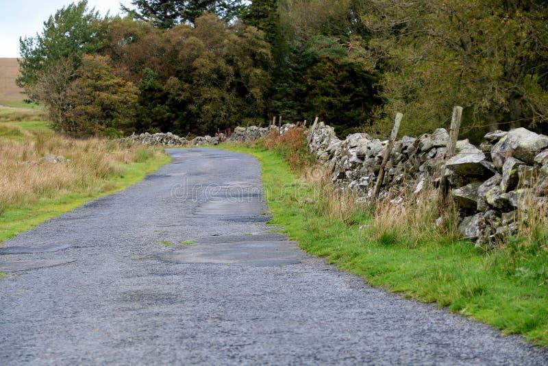 Estrada secundária com parede de pedra e a cerca de fio velha imagens de stock